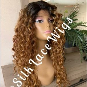 BROWN HIGHLIGHTS CURLY SWISS LACE FRONT WIG